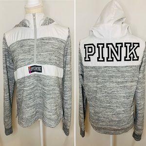 PINK Victoria's Secret Grey 1/4 Zip Logo Hoodie